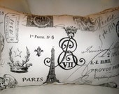 French Country Reversible Eiffel Tower Script & Burlap Pillow, Paris Inspired Lumbar Cushion, Shabby Chic Home Decor