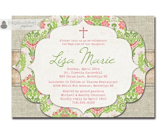 Lace Linen Baptism Invitation Pink Green Damask Shabby Chic Rustic Vintage Christening Baby Girl Cross DIY Digital or Printed - Lisa Style