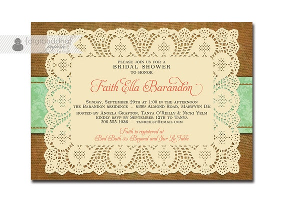 Cheap Shabby Chic Wedding Invitations: Lace Burlap Bridal Shower Invitation Mint Damask Shabby Chic