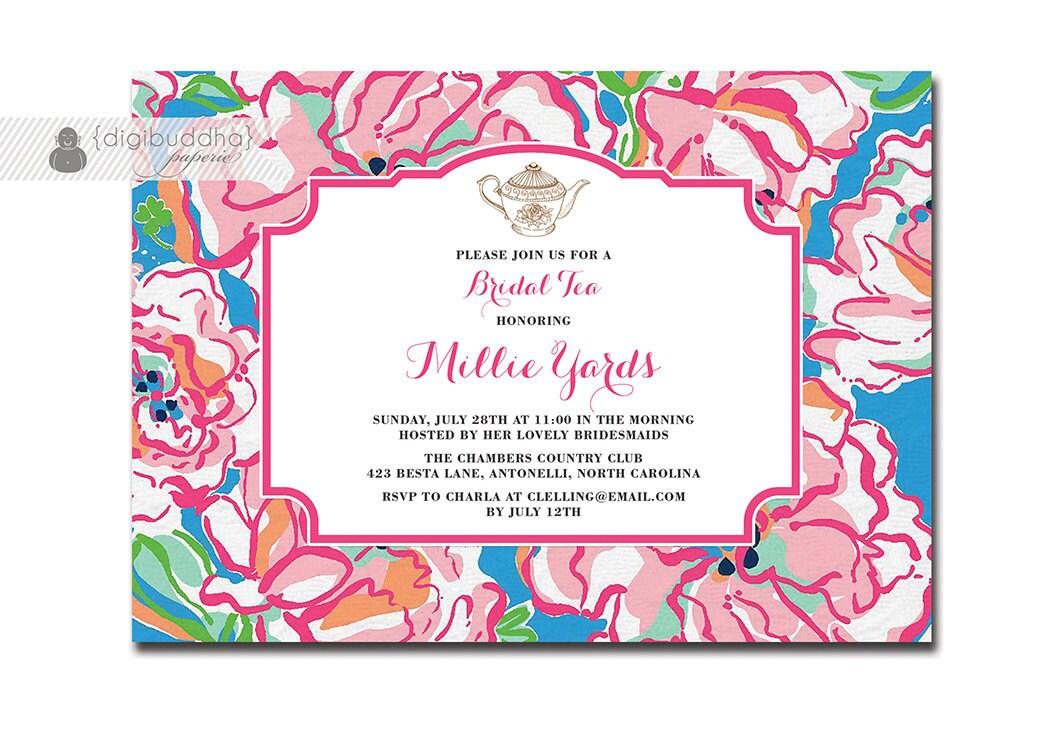 BRIDAL TEA PARTY Invitation Preppy Bridal Shower Pink Flutter