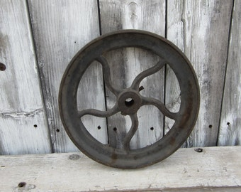 Antique Iron Wheel Salvaged Old Farm Wheel Metal Round Industrial Display Old Fashion Factory Machine Age Steampunk Victorian Early 1900s