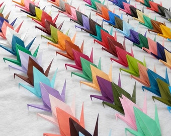 100 Small Origami Cranes In 100 Different Rainbow Colors Origami Paper Cranes