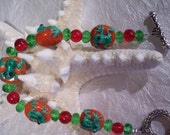 Frog  bracelet ,red and green lampglass beads,women