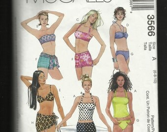 McCalls 3566 Two Piece Swimsuits with Loads of Choices Sizes 6-8-10 UNCUT