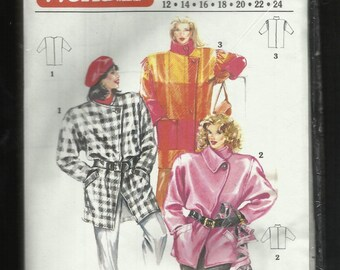 Vintage 1987 Woman's World 4/1987 Big Boxy Coats with Asymmetrical Front & Strong Shoulders Sizes 12 to 24 UNCUT