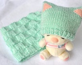 GIFT SET - Light Green Knitted Baby Kitty Ear Hat with Matching Knitted Checkered Baby Blanket
