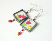 Birds and Tulips - Unique Glass Earrings