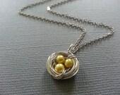 Mini Yellow Pearl Bird's Nest Necklace