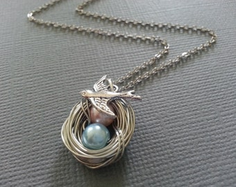 Pink and Blue Pearl Bird's Nest Necklace