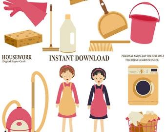 Housework clipart, Cleaning Clipart, Organiser Clipart,chores Clipart, Instant Download, clean clip art, Digital scrapbook, Journal Clipart,