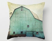 Decorative Throw Pillow Cover Aqua Barn Vintage Turquoise Teal Mint Country Rustic Farmhouse Decor Photo Case Home Bedroom Livingroom Couch