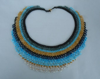Beaded Collar in Blues, golds, greys, and iris blue
