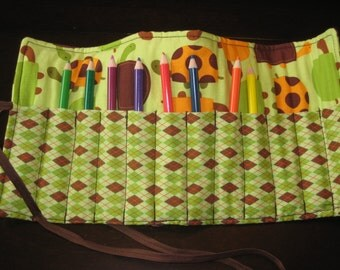 Pencil/Crayon Roll - Turtles