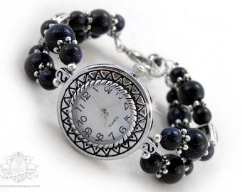 Dark blue wrist watch, navy bracelet watch, adjustable watch, ladies watch, gemstone watch, womens watch, bead watch, blue watch, jewelry