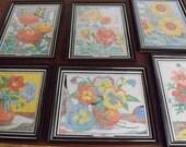DO NOT PURCHASE-Reserved Vintage Color by Number Pictures/Framed Flower Pics set of six/vintage color by number