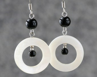 Black & white pearl Shell Hoop Earrings Bridesmaids gifts Free US Shipping handmade Anni Designs