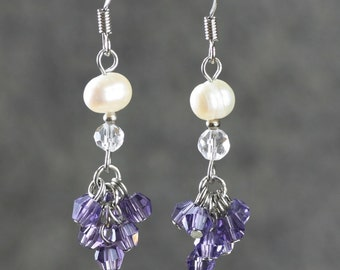 Violet pearl dangling chandelier earrings Bridesmaids gifts Free US Shipping handmade anni designs