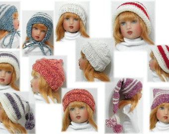 "4 Hats & Slipper Socks PATTERN for 12"" Bethany Kish DollsSent PDF Format"