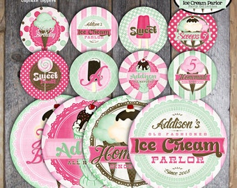 Ice Cream Party - Ice Cream Parlor Birthday - Complete Collection - Toppers, Banner, Favor Tags & More - Printable (Social, Shoppe, Vintage)