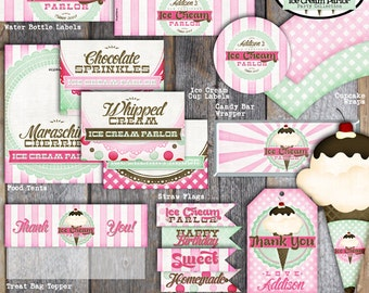 Ice Cream Party - Ice Cream Parlor Birthday - Napkin Wraps (A La Carte) - Printable (Social, Shoppe, Vintage)
