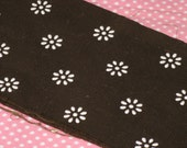 Vintage Flock Dotted Fabric Dark Brown with Flocked Daisy White Flowers  1/8 Yard