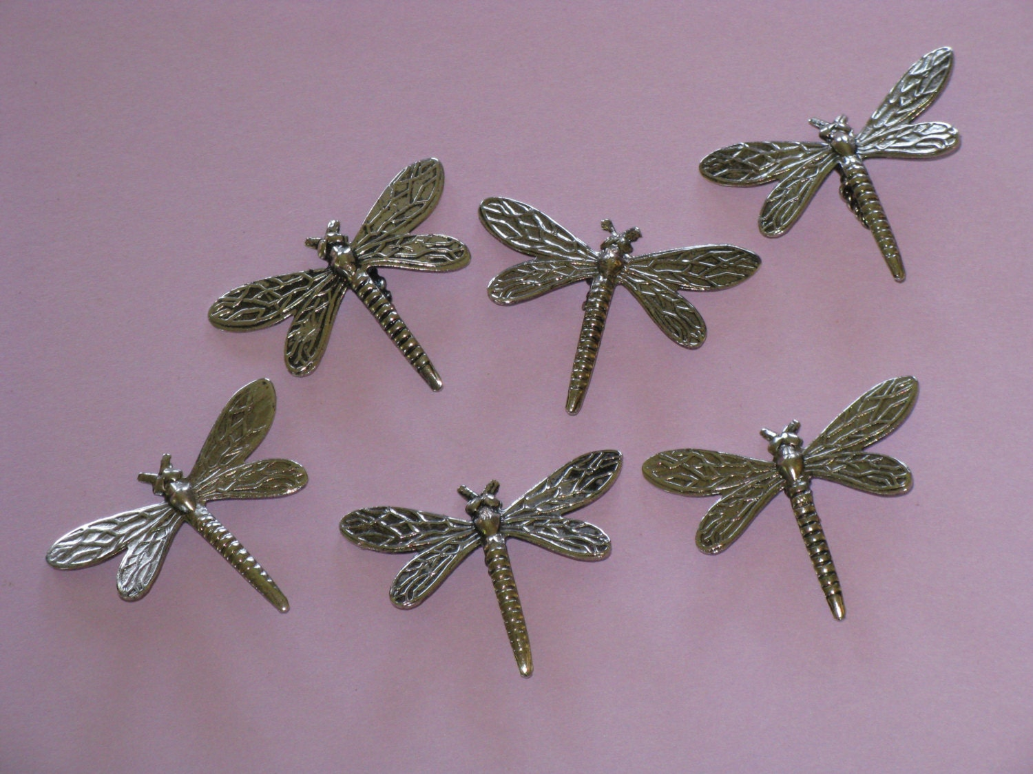 Dragonfly Embellishments Silver Metal Lot Of 6 Dragonflies For