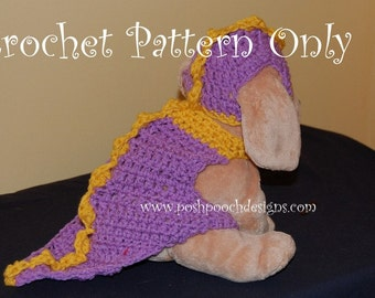 Instant Download Crochet Pattern - Dinosaur Dog Costume - Small Dog Dinosaur Sweater and Hat Set