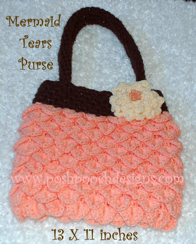 Crochet Shopping Bag : Mermaid Tears Crochet Purse Shopping bag Tote by poshpoochdesigns