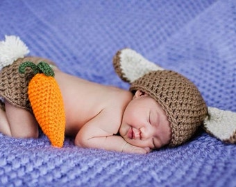 Crochet Easter Bunny Outfit (beanie/hat, diaper cover and carrot)