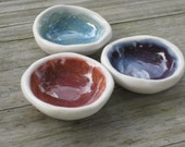 Tiny Bowl Set of 3 for rings incense or kitchen prep blue purple cinnamon