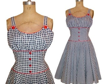 1950s Style Gathered Bust Dress Navy Gingham Full Circle Skirt Size Large Ready to Ship