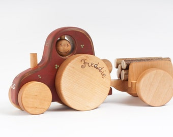 Personalized toy truck, Wood Tractor, eco friendly toddler toy