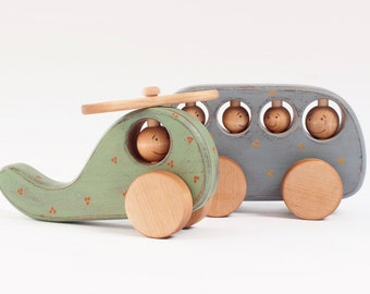Wooden Toy Bus and Helicopter, Wooden Vehicle, Kids Toy