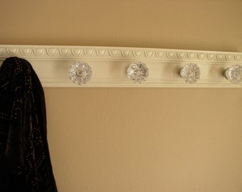 Coat Rack W/ 5 Glass Door Knobs And Decorative Beveled Moulding. Shabby  Chic Style