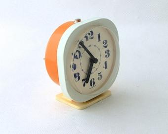 Vintage alarm clock orange creamy, Madein Poland 80s , Desk clock orange, Working table alarm clock