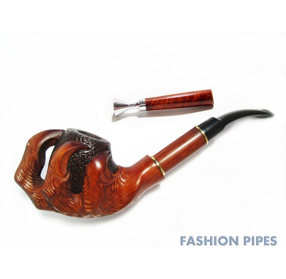 "Lux Pipe, Smoking Pipe Wood Pipe Tobacco Pipe / Pipes. Wooden Pipe Churchwarden Handcrafted ""EAGLE CLAWS & TAMPER"" Designed For Real Smokers"