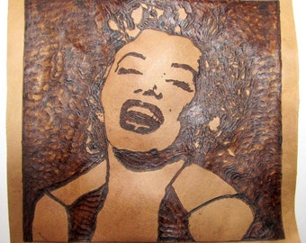 MARILYN MONROE - Handmade Leather Patch - Pyrography - Wearable Art