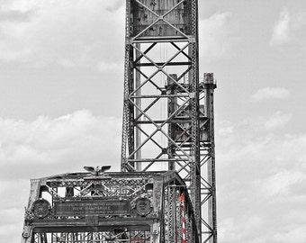 Bridge Architecture Memorial Bridge Portsmouth NH Black and White Piscataqua River Historical Art,  Fine Art Print