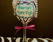 Personalized Hand Painted Wine Grammy's Sippy Cup with Zebra Stripes