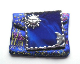 Stained Glass Purse Mirror|Pocket Mirror|Sun & Moon|Sun|Moon|Celestial|Cobalt Blue|Blue|Bath and Beauty|Makeup Tool|Handcrafted|Made in USA