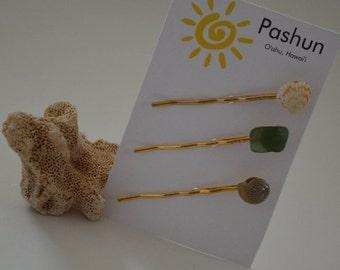 Seashell Hair Accessories ... Shell Hairpin Set of Three (0497)