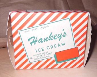 3 Vintage Hankey's Ice Cream, Pint Ice Cream Boxes, Hagerstown, Maryland, 1948