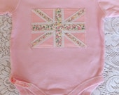 Pink Floral Union Jack Baby Vest Bodysuit
