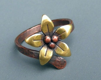 Brass Flower Ring with Hammered Copper Band, Adjustable Metalwork Ring