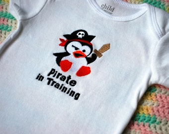 Pirate in Training penguin baby bodysuit made to order