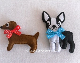 Dachshund & Boston Terrier - Set of 2 felt Brooches