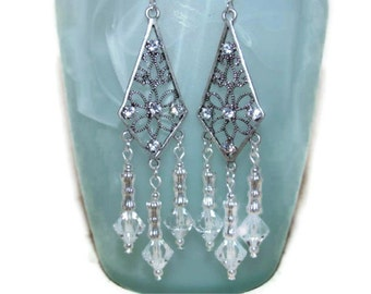 Clear Swarovski Crystal Earrings (E42)