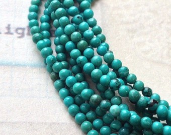 1 strand (15 inches) (over 170 Pieces) of 2 mm Blue Green Grade B-C Natural Turquoise Beads (gz sdu - c.m)