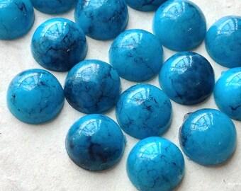 8 mm Turquoise Color Flat Back Acrylic Cabochons (.ma)