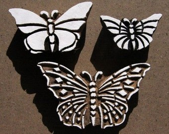 Butterfly Stamps - Indian Wooden Block Print Stamps  - Hand Carved - Set of 3